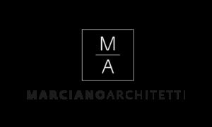 Logo Marciano Archietetti su sfondo nero con scritta